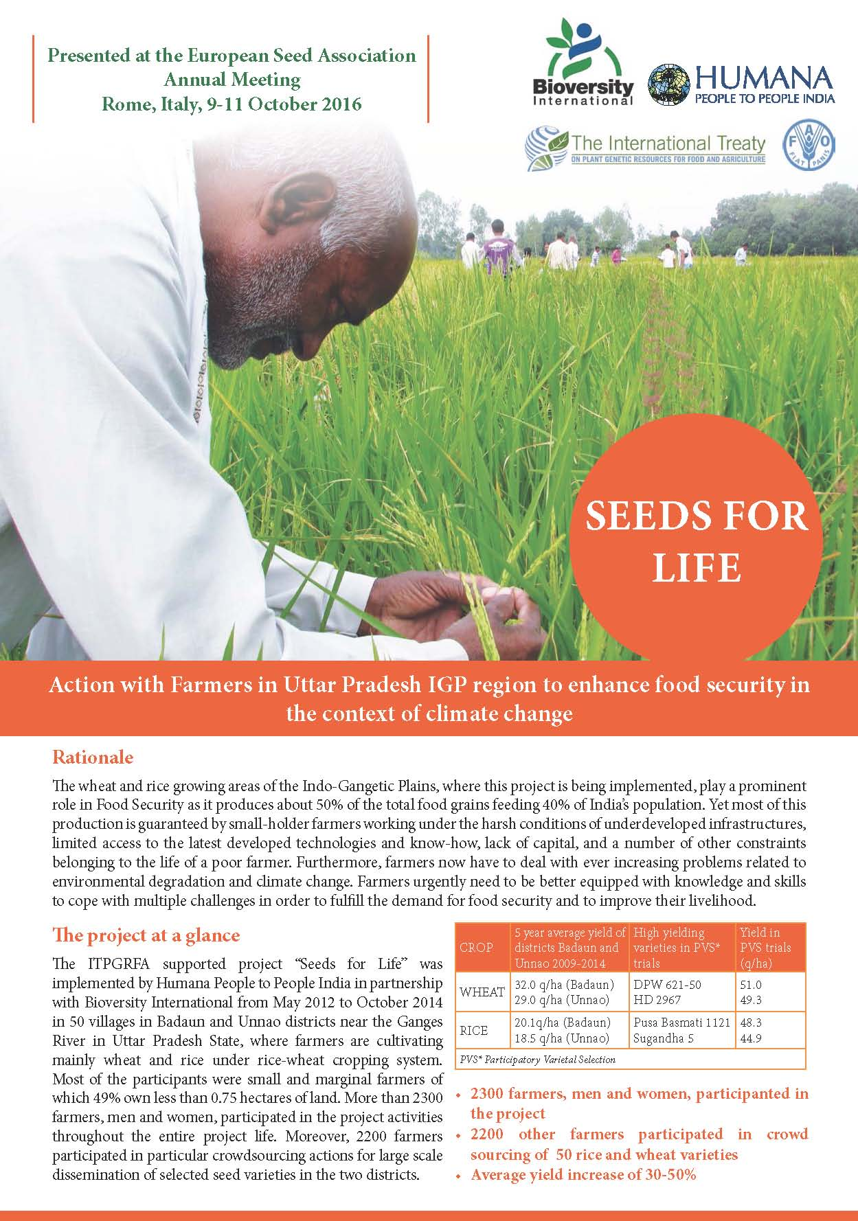 Seeds for Life Action with Farmers in Uttar Pradesh